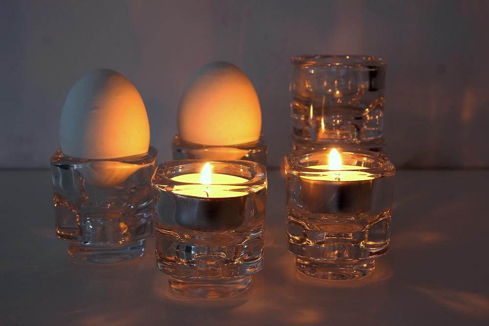 Äggkoppar/ljuslyktor i glas